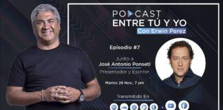 Erwin Pérez entrevista al presentador español José Antonio Ponseti